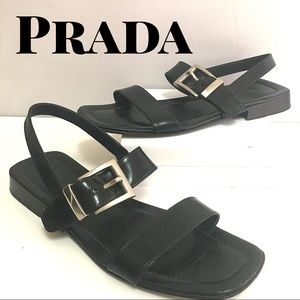 Prada Black Leather Strappy Sandals: 38.5 Eur 8 US